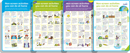An example non-screen activity ideas from Pobble